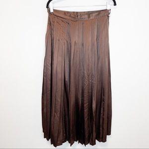 Vintage 1985 Brown Pleated High Waist Midi Skirt